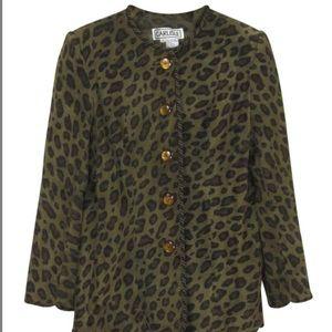 Carlisle Suede Leather Jacket-Olive Green Leopard